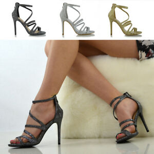 dbe3ca611f Image is loading Womens-Strappy-Heel-Platform-Sandals-Peeptoe-Ladies -Stiletto-