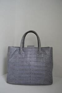 Image Is Loading Lai Grey Crocodile Tote Shoulder Bag Handbag Purse
