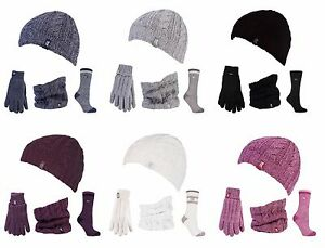 Image is loading Heat-Holders-Womens-Knitted-Thermal-Hat-Gloves-Neck- 8b3dcd93e71