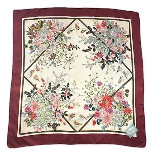 Gucci-Silk-Square-Scarf-Floral-Birds-Multicolor-Burgundy-86cm-Authentic