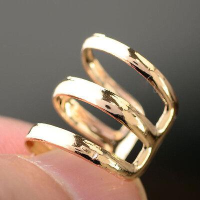 2PC PUNK Rock Ear Clip Cuff Wrap Earrings No piercing-Clip On Silver Gold Bronze