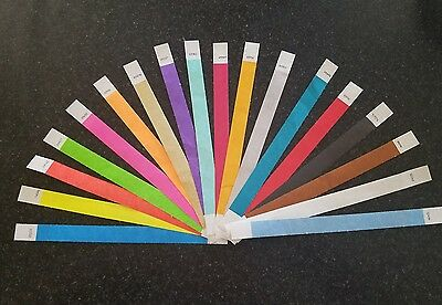 """5  EACH OF 13 COLORS PAPER WRISTBANDS 65  3//4/"""" ASSORTED TYVEK WRISTBANDS"""