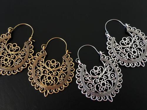 Silver Gold Boho Bohemian Gypsy Turkish Aztec Hippie Hoop Tribal Ethnic Earrings