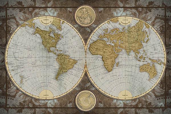 Elizabeth Medley  Mappa Del Mondo Barella-Immagine Schermo Mappamondo Marroneee