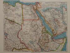 Landkarte Nordost - Afrika, Nil-Delta, Sues-Kanal, von 1935 Bibli. Institut AG