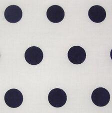 Algodón Blanco Azul Marino A Lunares Spot Tela * Por Metro