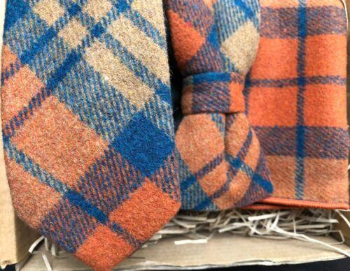 Burnt Orange Carreaux Cravate Mouchoir de poche//Mariage Cravates//Liens pour hommes Nœud Papillon