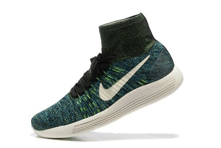 Nike Men's LunarEpic Flyknit - Black Photo bluee Poison Green (818676-003)