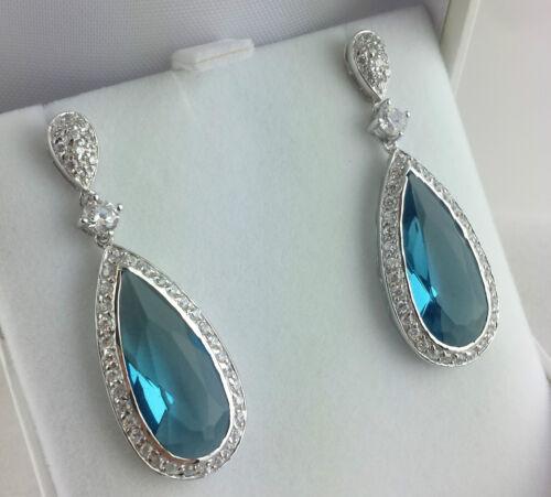 Fine Solid Silver Pear Shaped Blue /& White CZ Large Drop Earrings