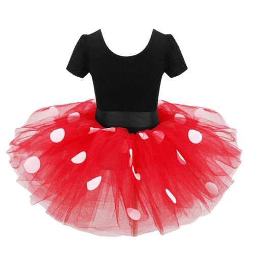 Details about  /Baby Birthday Party Dress Girls Cartoon Mouse Polka Dots Tutu Skirts Set Costume