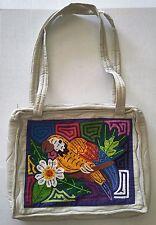 Off White - Parrot mola handbag made by panamanian Kuna indians