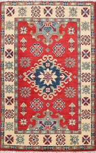 RED-IVORY-Super-Kazak-Hand-Knotted-Geometric-Oriental-Area-Rug-Wool-2-039-x3-039-Carpet