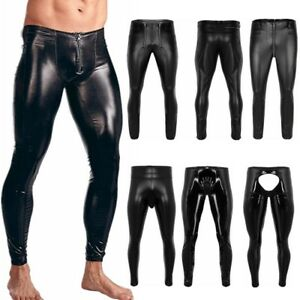 Men-039-s-Leather-Look-Long-Pants-Zipper-Trousers-Muscle-Tights-NigthClub-Costumes