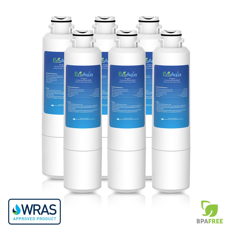 EcoAqua DA29-00020B ICE & eau Réfrigérateur Filtre Pour Samsung Aqua Pure Plus x 6