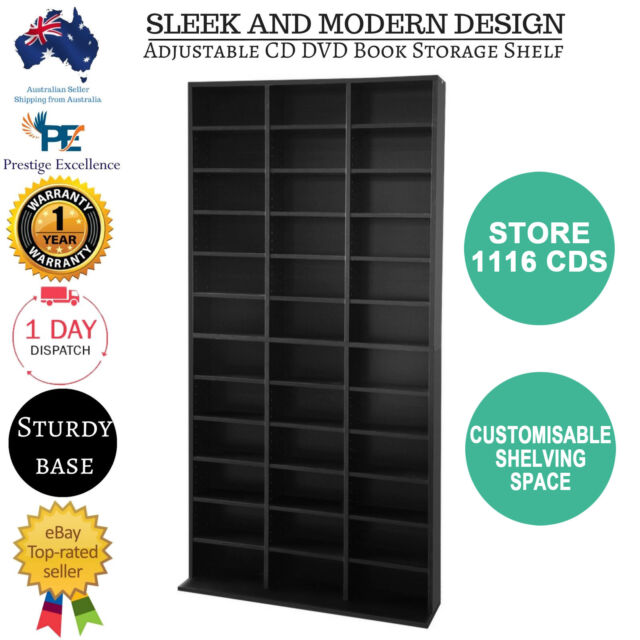 Storage Shelf Rack Stand Cupboard Book Shelves Unit Black Bluray 528 DVD/1116 CD