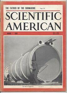 Scientific American Magazine March 1943 WWII Submarine Gun Barrel Naval Battles
