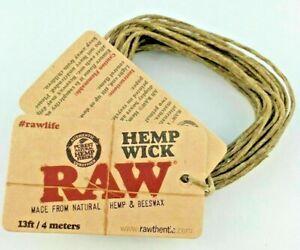 RAW 4m Meter / 13ft Hemp Wick Natural Unbleached Unrefined Hemp & Beeswax Pack
