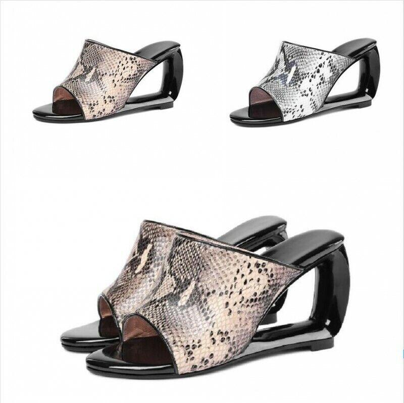 Zapatos de Cuero Sandalia para mujeres Tacón diapositivas extraño piel de serpiente impresa Peep Toe diapositiva