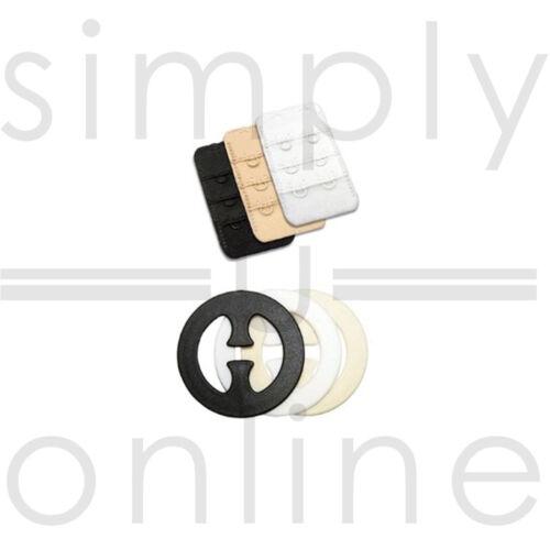 schwarz Packung mit 3 BH-Extender und 3 BH-Clips weiß und nackt 2 Haken