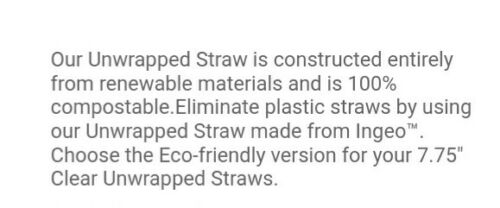"""Eco-Products 7.75/"""" Drinking Straws 400 per pack Clear Wrapped and Renewable"""