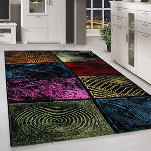 Moderner-Design-Teppich-Kurzflor-abstrakt-Karo-Gemustert-multifarbe-Meliert