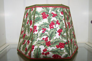 Vintage-HEXAGON-7-034-Fabric-Lamp-Shade-Holly-amp-Red-Berries-gross-grain-ribbon-trim