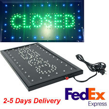 """2 in 1 LED Open Closed Store Restaurant Business Closed Lighted Sign 9x20"""" neon"""