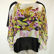 NWT Citron Clothing Butterfly Flutter Sleeves 100% Silk Layered Tunic Blouse 1X