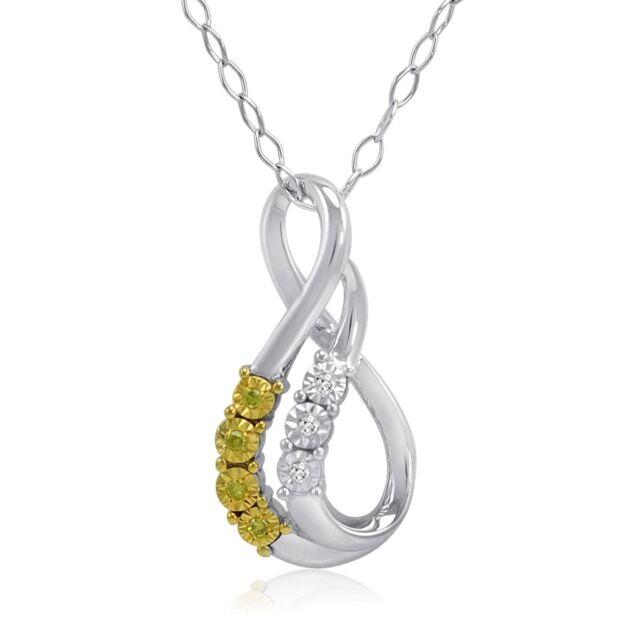 DiAura Yellow and White Diamond Swirl Pendant in .925 Sterling Silver