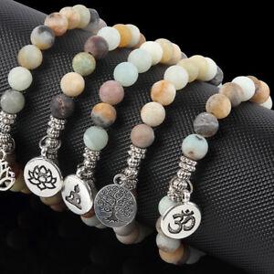 Men Women Matte Amazonite Stone OM Lotus Buddha Yoga Bracelets Chakra Mala Beads