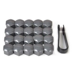 Wheel-Lug-Nut-Bolt-Center-Cover-Gray-17mm-Caps-amp-Tool-for-VW-Audi-Skoda-X20