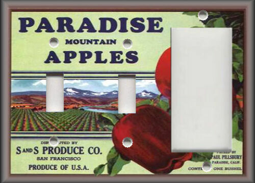 Metal Light Switch Plate Cover Vintage Fruit Crate Home Decor Paradise Apples