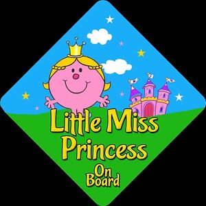 Personalised Child//Baby On Board Car Sign ~ Little Princesses On Board ~ Pink