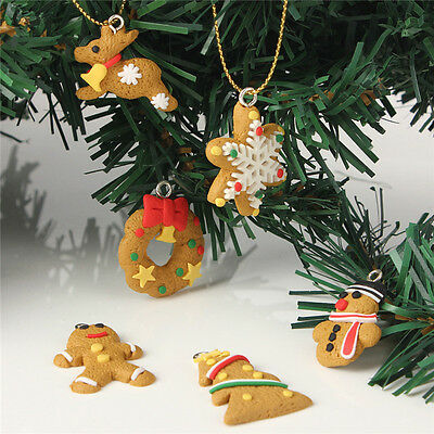 New 6 pcs Gold Polymer Clay Decoration Christmas Tree Keychain Hanging Ornament