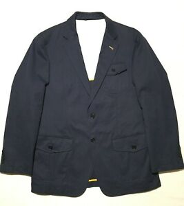 Robert-Talbott-Monterey-Navy-Men-039-s-Sport-Coat-Blazer-100-Cotton-Sz-L-EUC