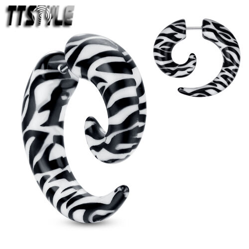 TTstyle UV Acrylic Spiral Zebra Fake Cheater Ear Taper NEW A Pair