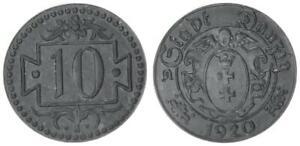 Gdańsk 10 Pfennig 1920 Small Wertzahl Prfr. Zinkpatina
