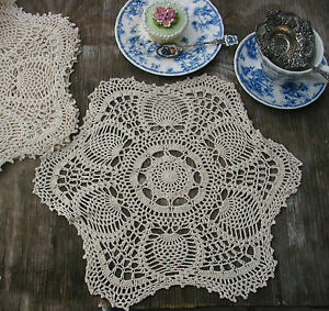 """6pc Hand Crochet Doilies Placemats 15"""" RD VTG  Wedding Country Tea Party Natural"""