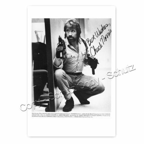 Autogrammfoto laminiert Chuck Norris