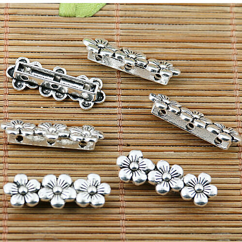 8pcs Tibetan silver 3 hole flower connectors EF1876