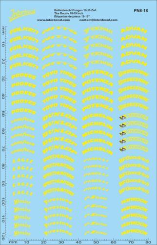 PN08-18 Decal 140x90 mm Reifenbeschriftungen gelb 18-19 Zoll 1//18