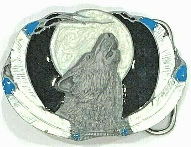 Wolf Framed by Feathers Enameled Siskiyou Belt Buckle New