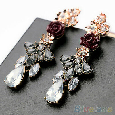 New Women Fashion Resin Rose Flower Crystal Rhinestone Ear Studs Drop Earrings