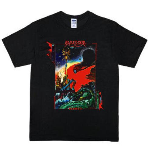 VINTAGE Agressor t shirt rare black gildan short sleeve S-3XL Reprint tee