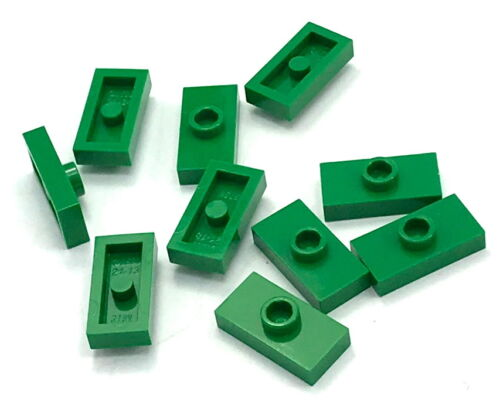 Lego 10 New Green Plates Modified 1 x 2 with 1 Stud Jumper Pieces Parts