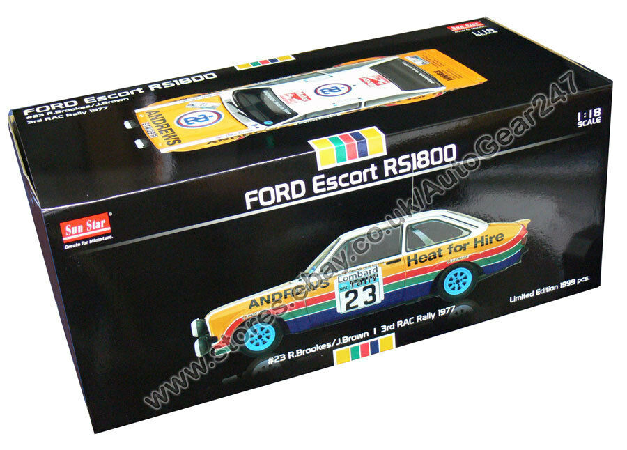 SUNSTAR Ford Escort Escort Escort RS1800 3rd Rac Rally #23 R.brookes / J.Marron 1977 1:18 | économique Et Pratique