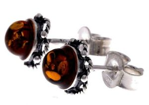 Certified-925-Sterling-Silver-amp-Genuine-Baltic-Amber-Gemstone-Stud-Earrings-5940