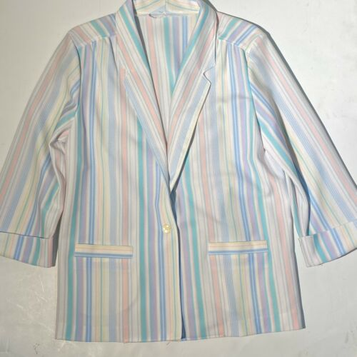 Vintage Woman's Blazer Rainbow Striped Jacket USA