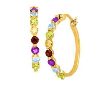1-3-4-ct-Natural-Multi-Gem-Hoop-Earrings-in-14K-Gold-Bonded-Sterling-Silver