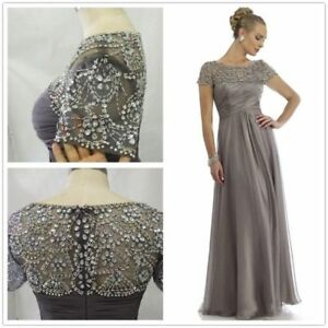 Gray-Chiffon-Mother-Of-the-Bride-Dress-Short-Sleeve-Beading-Formal-Gown-Plus